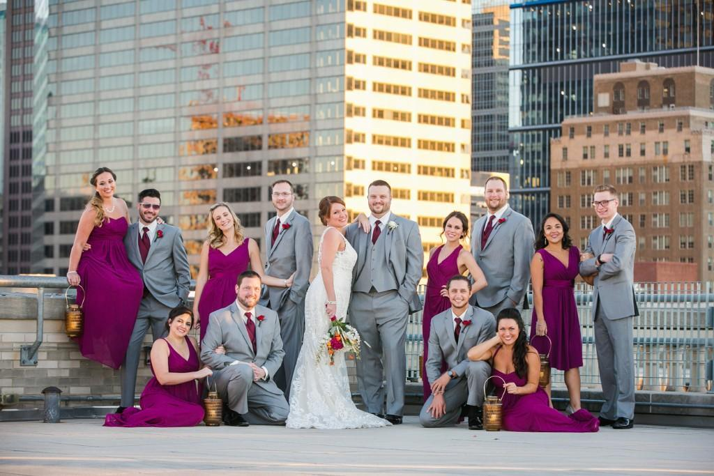 Laura Caporizzo Photography, bridal party on top of building in philadelphia