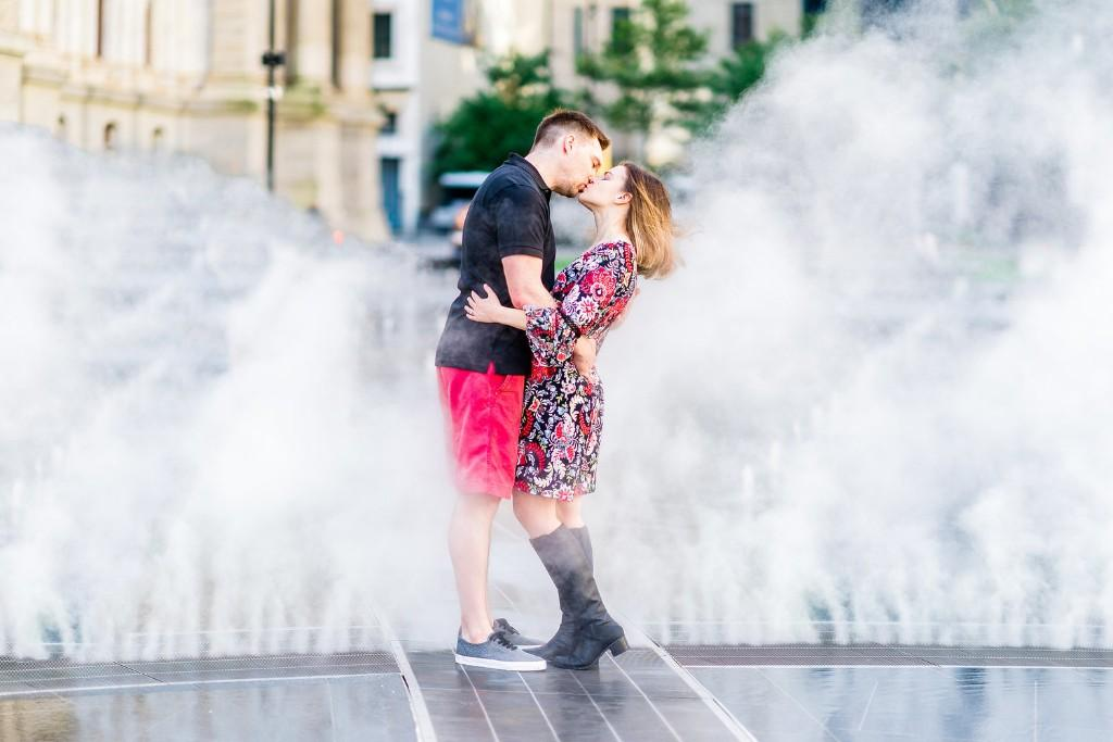 Dilworth park water fountain engagement shoot, J&J Studios