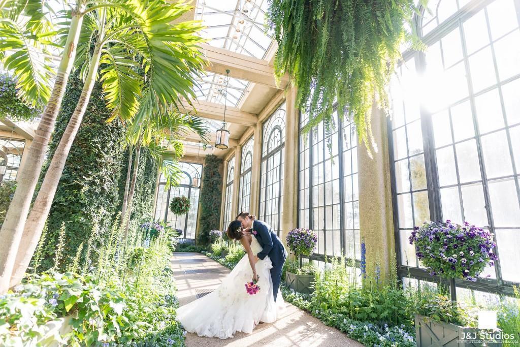 Bride and groom at longwood gardens, J&J Studios